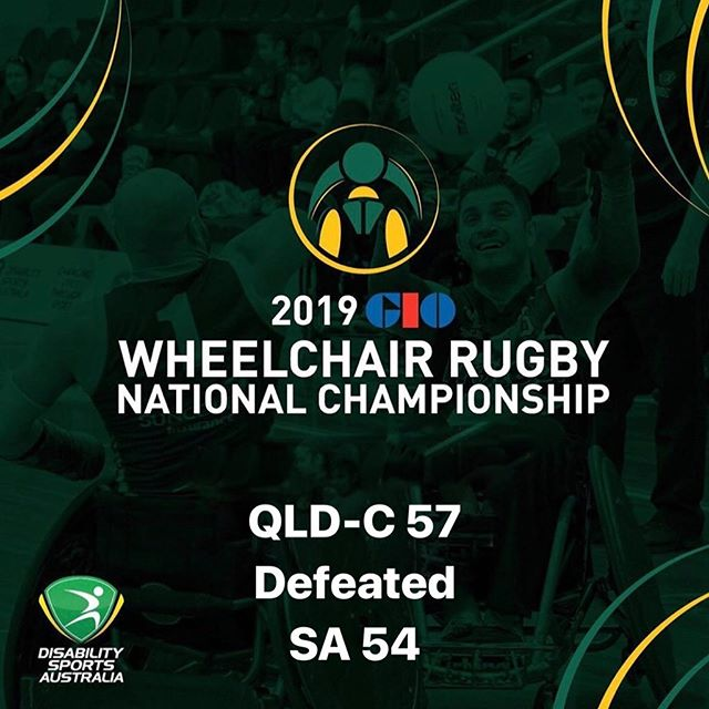 Day Two Game 2 results of the 2019 GIO Wheelchair Rugby National Championships  QLD-C 57 defeated  SA 54 #wheelchairrugby #GIO #WRNC