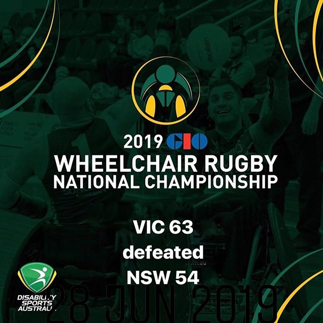 Day Two Game 3 results of the 2019 GIO Wheelchair Rugby National Championships VIC 63 defeated  NSW 54 #wheelchairrugby #GIO #WRNC