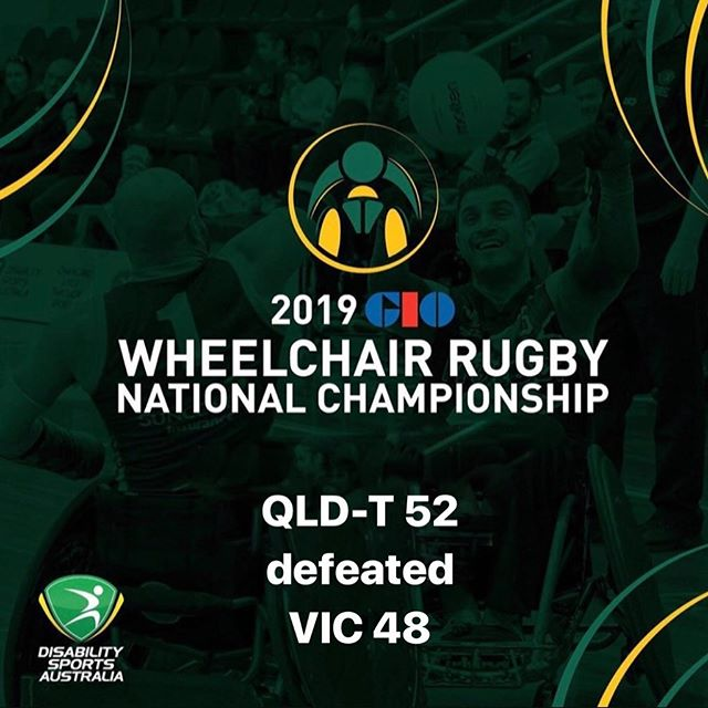 Day Two Game 5 results of the 2019 GIO Wheelchair Rugby National Championships QLD-T 52 defeated  VIC 48 #wheelchairrugby #GIO #WRNC