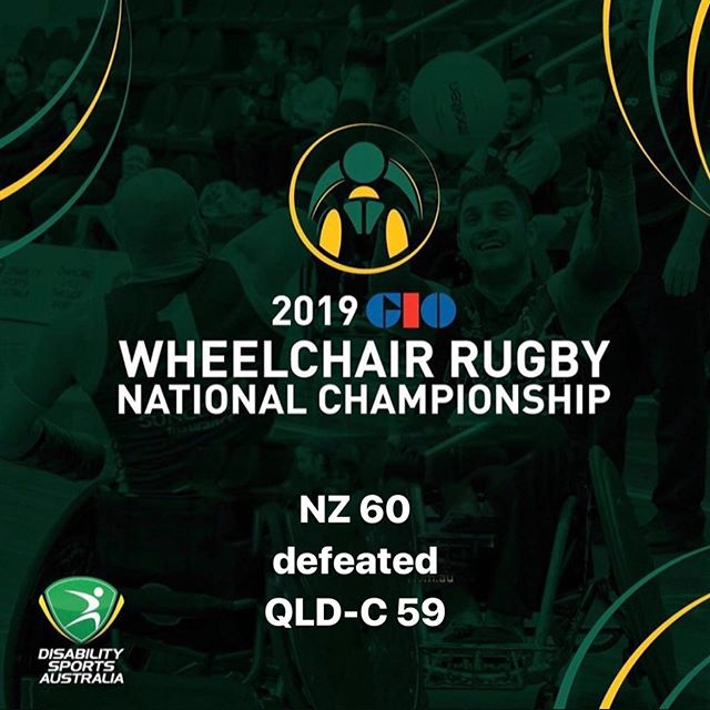 Day Two Game 4 results of the 2019 GIO Wheelchair Rugby National Championships NZ 60 defeated  QLD-C 59 #wheelchairrugby #GIO #WRNC