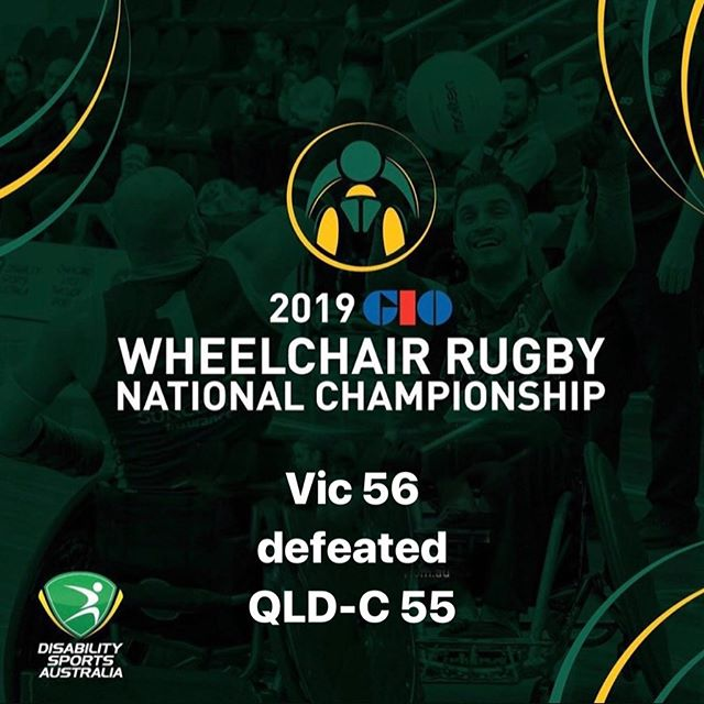 Day Three Game 1 results of the 2019 GIO Wheelchair Rugby National Championships VIC 56 defeated  QLD - C 55 #wheelchairrugby #GIO #WRNC