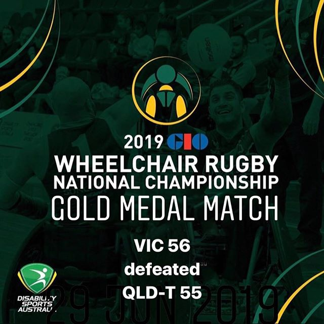 Day Three Gold Medal Match Results of the 2019 GIO Wheelchair Rugby National Championships VIC 56 defeated QLD-T 55  #wheelchairrugby #GIO #WRNC