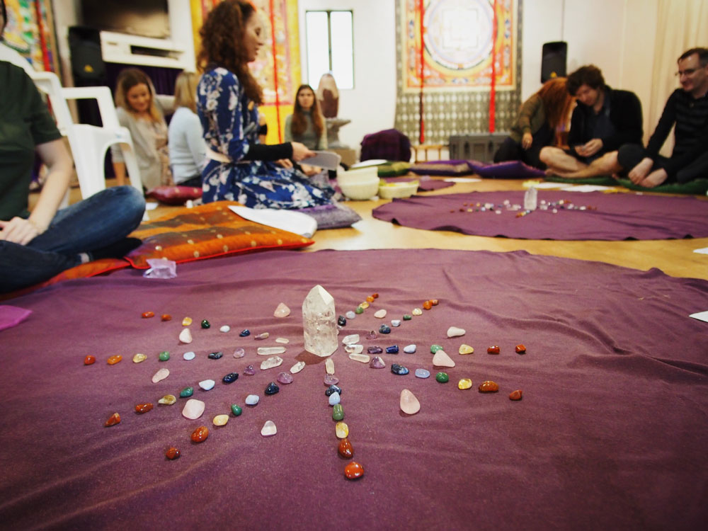 Chakra stone mandala with a clear quartz centre - the crystal experience