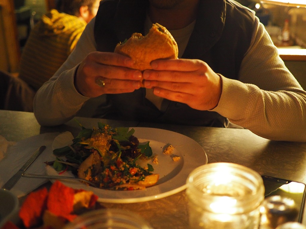 Quinoa, chick peas, roast onion spicy peanut patty, toasted bun & mixed greens - good and you?