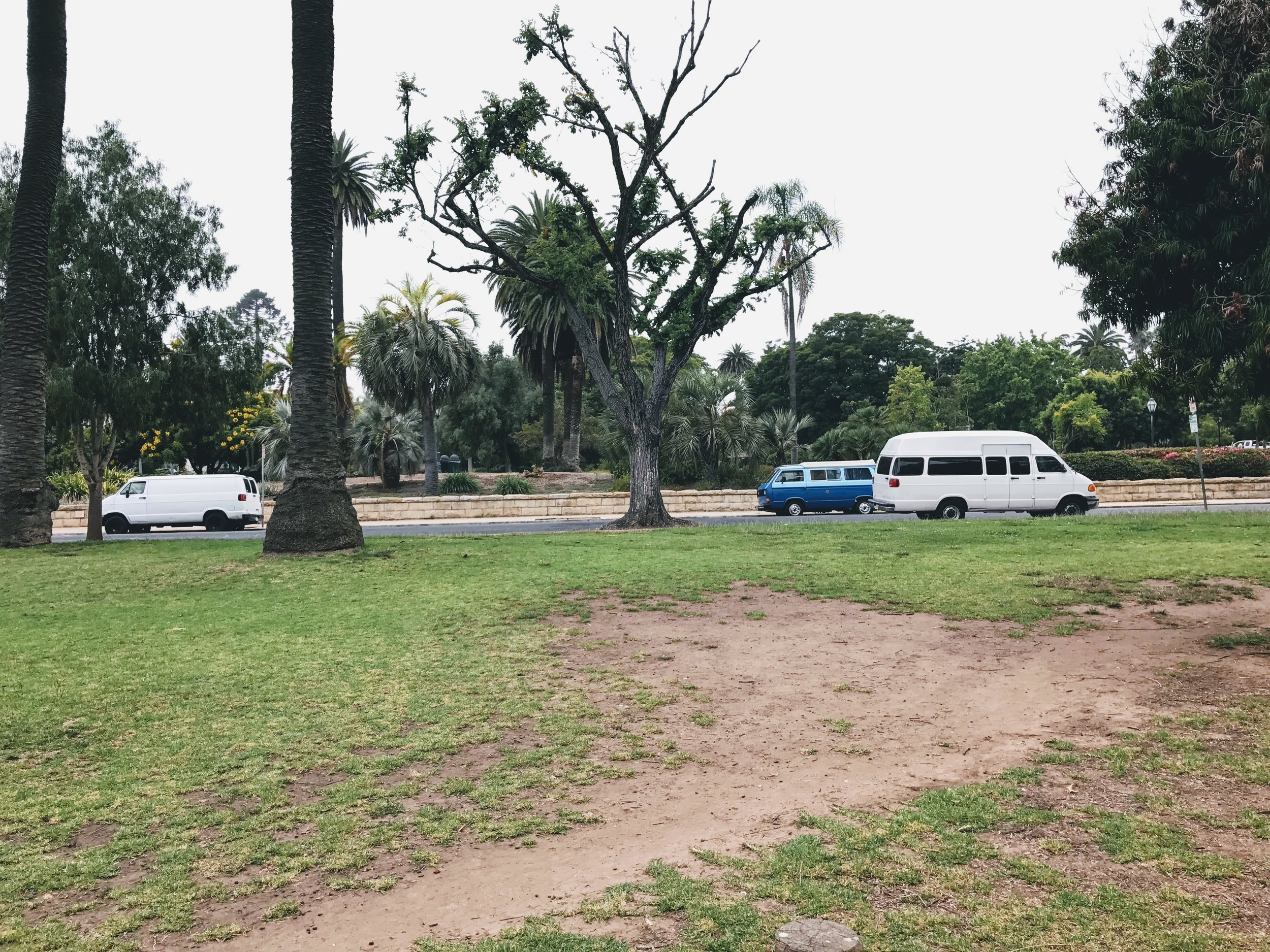 """Kid's World Park in Santa Barbara, Ca.  Look for other van lifers. There is safety in numbers. We knew this would be a good spot to sleep when we saw other van life """"neighbors"""" on the block."""