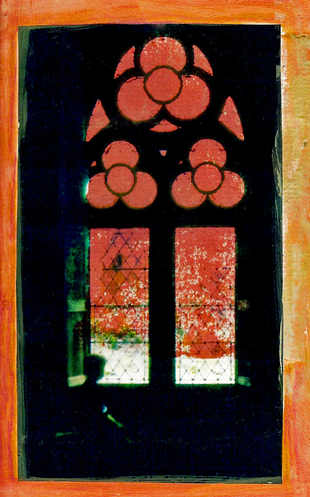 Carcassone Window., Transparency and aqua oil crayon.jpg