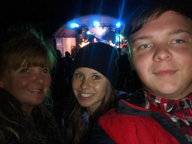 My Daughter,Son and I, feeling the vibes at the local Yew Tree Music festival. Top notch musicians, great venue! 🙂🙂🙂