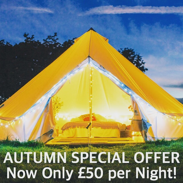 Special offer for autumn 2019 🍂 Bell Tents only £50 per night (down from £75) Not long left of the 2019 camping season now so get booking to catch the last of the warm weather! 🍂🏕☀️
