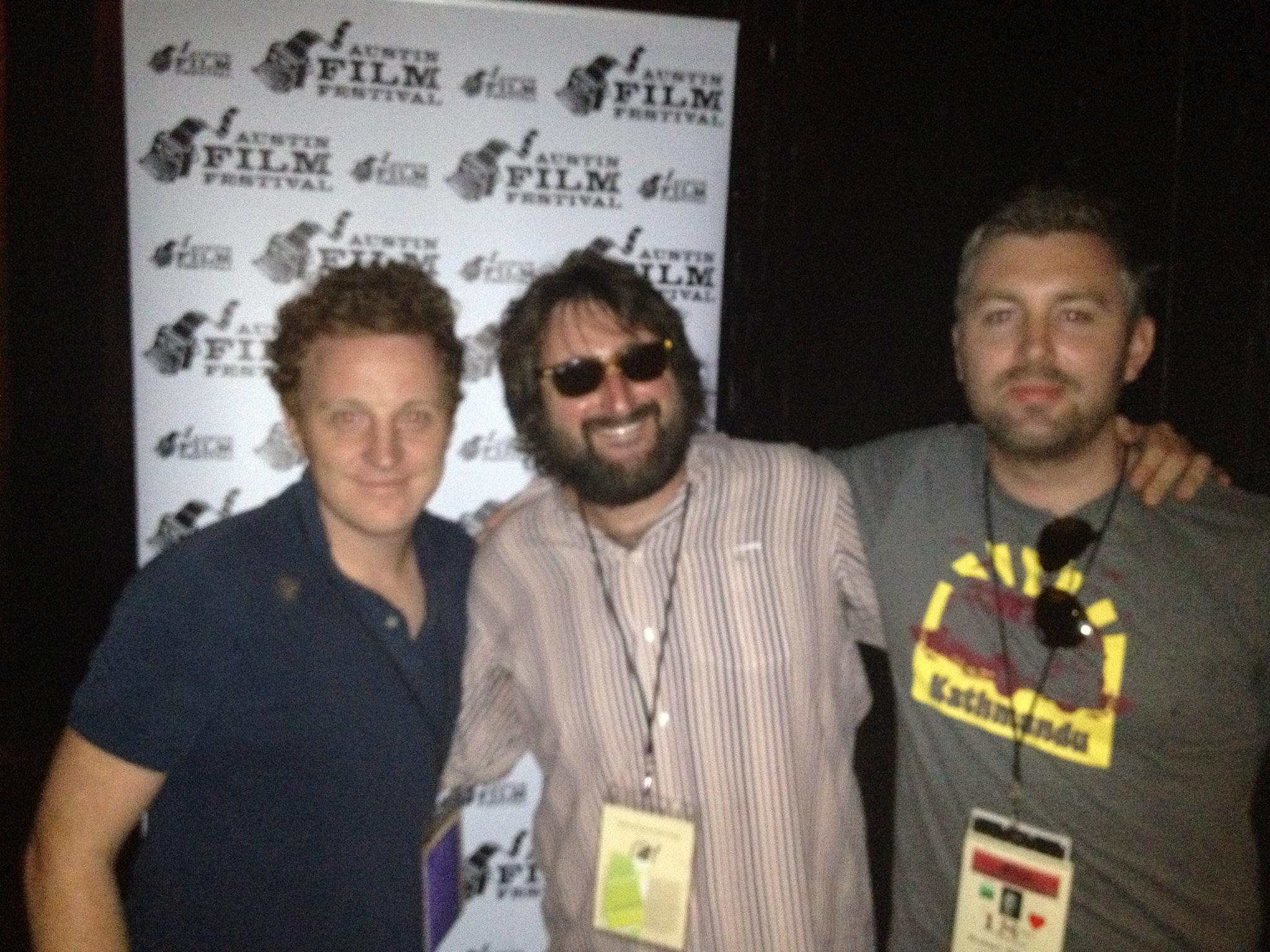 Writer/producer Brian A. Hoffman (middle) made it to Austin from LA to link up with Gin & Dry producers Matthew Jones and M J McMahon