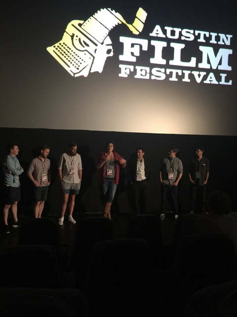 Writer producer Natalie Malla on stage with the filmmakers from the Stranger Comes to Town program