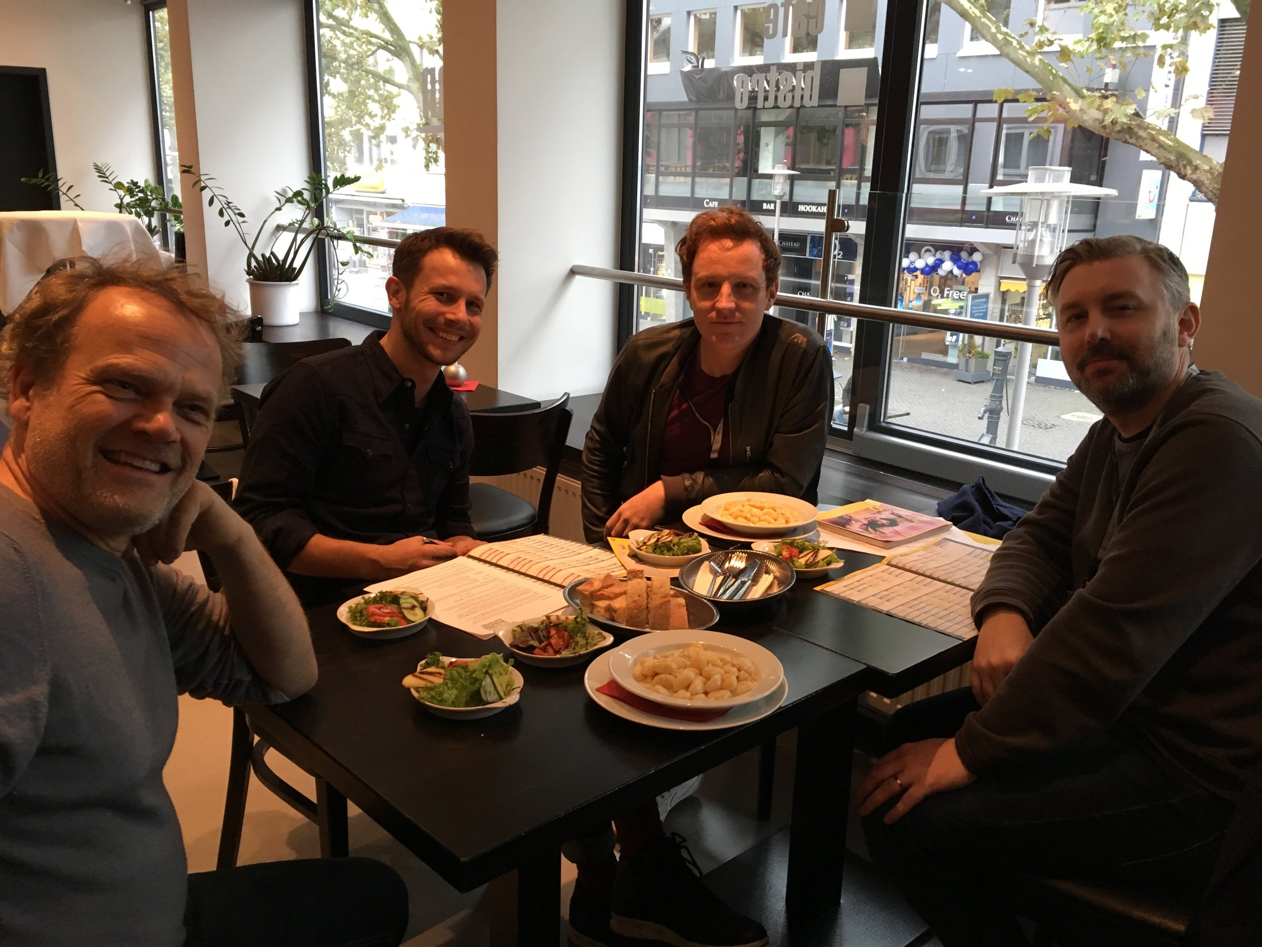Actor Reinout Bussemaker, Mateusz, director Matthew Jones and producer M J McMahon