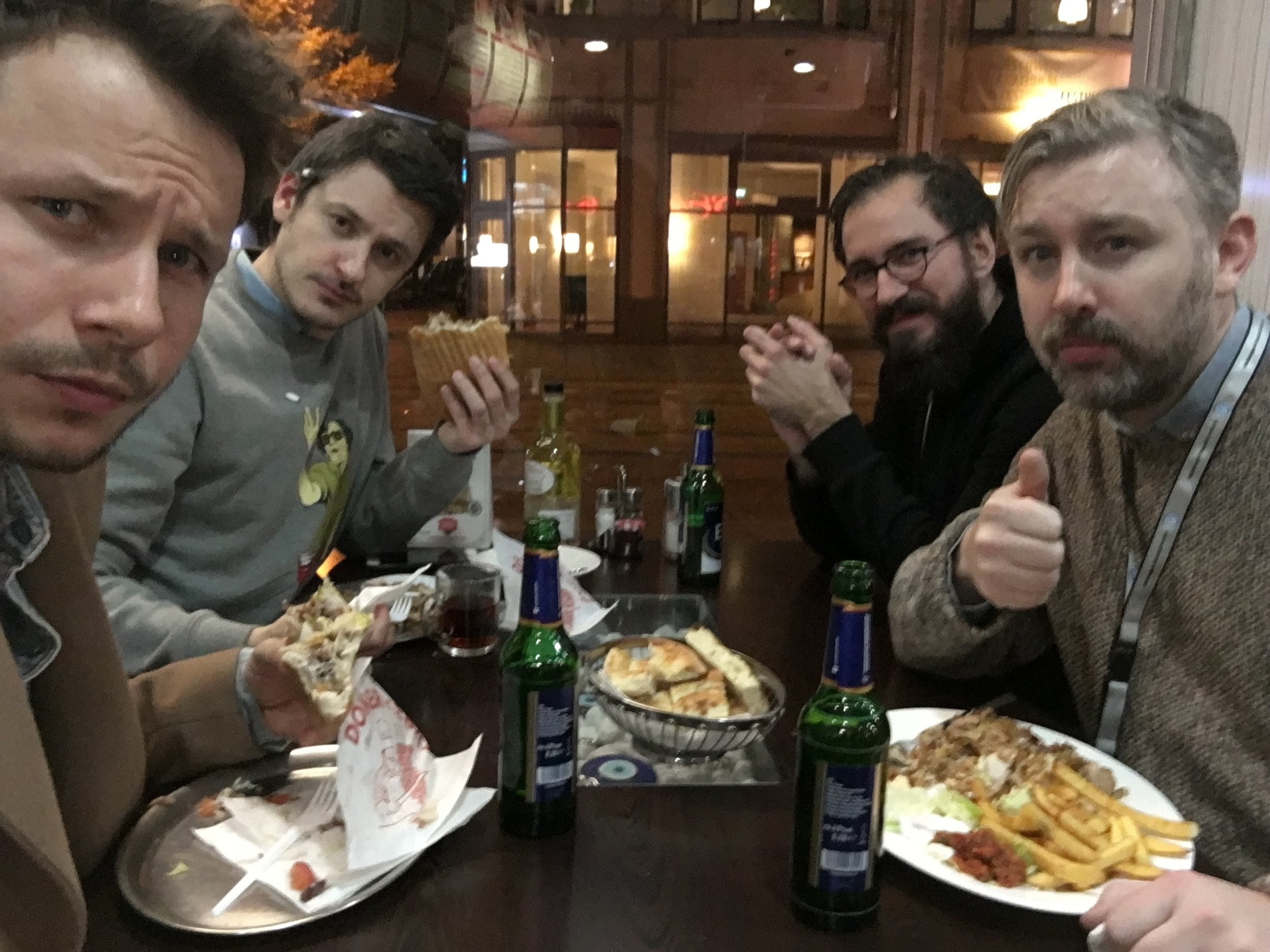Catching a late night kebab with director Ilya Naishuller after his   Q&A screening of Hardcore Henry and   Floating Skyscrapers actor Mateusz Banasiuk.