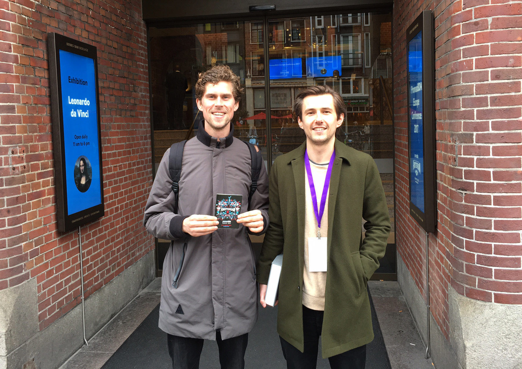 Lee with Boudewijn from  Voicebooking.com  outside Beurs Van Berlage