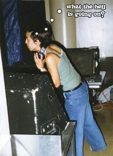 Actual photo of me playing my debut set at Tickle 2 at Maritime Hall in San Francisco, CA in 1998.  Looking confused AF.