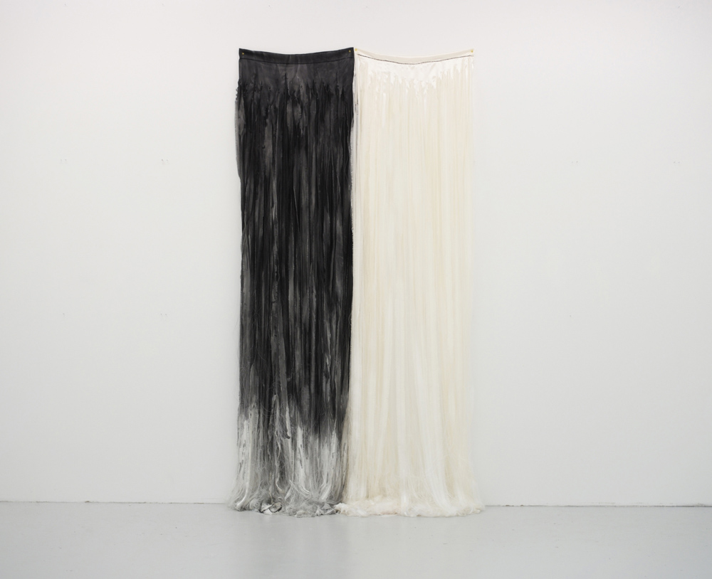 Float/black and white  (2015),  225 x 116cm,Dyed, torn satin  Photo: Tommy Ellingsen