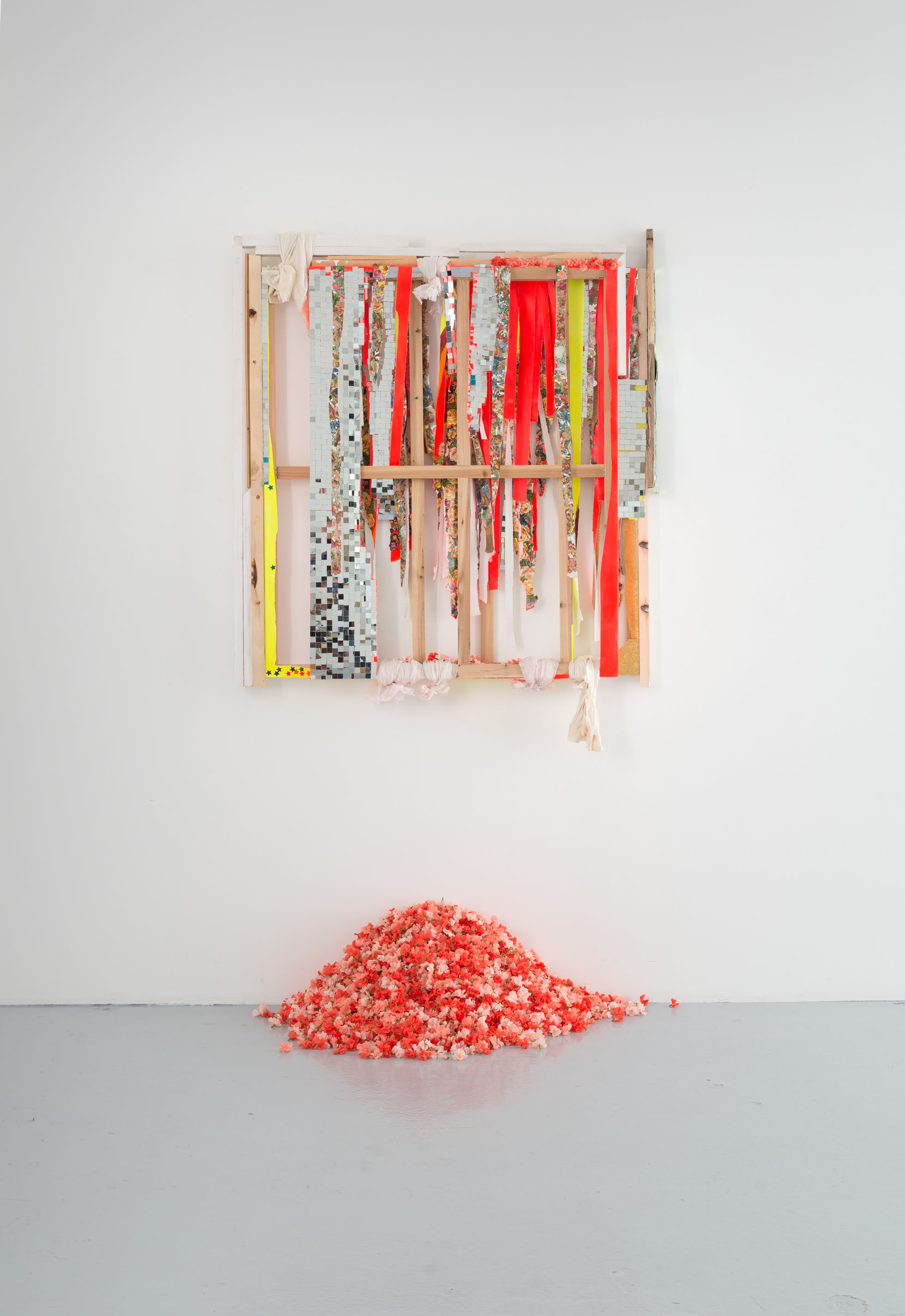 Stretcher frame 1, 2 & 3 (No Content)  (2013/14), mirror mosaic, acrylic, glitter, wood, glossy pictures, staples, silk flowers, nails, canvas, stretcher frames, Dimensions variable/wallpiece 155 x 125 x 18 cm