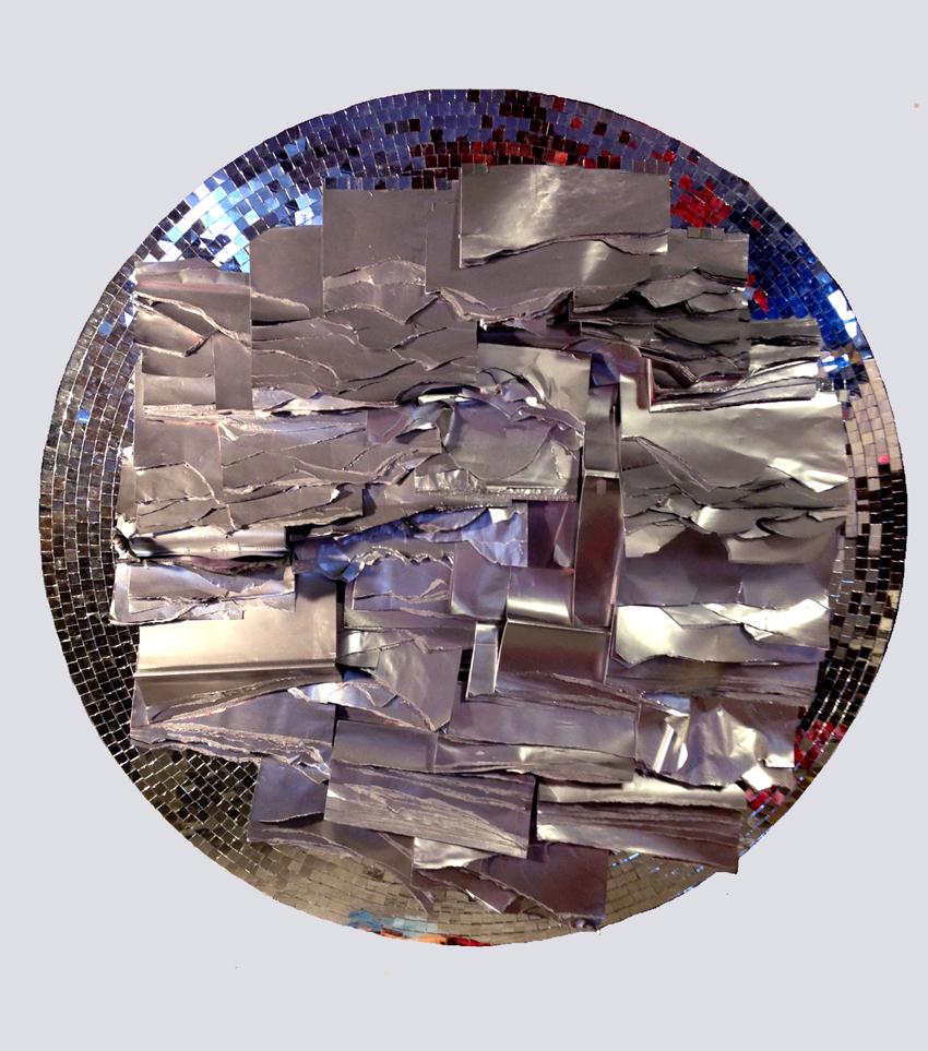 Rejected memorabilia I  (2012) used magazines, silver spray, mirror mosaic on MDF., 120 x 120 x 8 cm