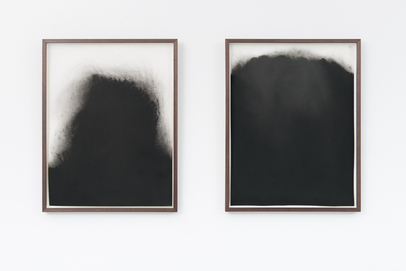 Elin Melberg,  Black Study I & II  (2015), dry pastel on paper
