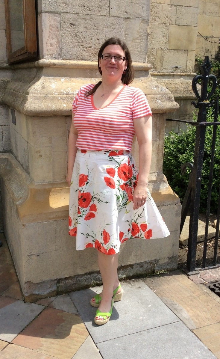 I in front of Great St Mary's, Cambridge with my new poppy skirt. Photo: Rhiannon Williams