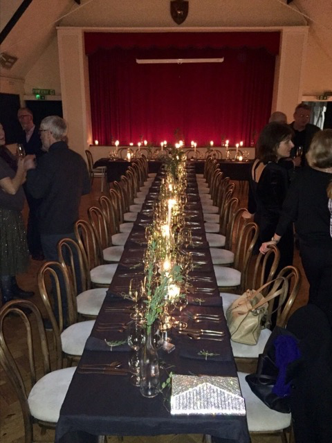 a beautiful christmas party in the hall