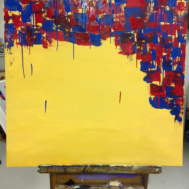 Adding yellow to a new painting! I love the stark contrasts and textures on this one! More soon! . . . #instart #instartist #shivanisarjan #art #fineart #artistsoninstagram #painting #abstractart #colorful #pattern #artforsale #contemporary #contemporarypainting #emergingartist #artwatchers #artforsale #printsforsale #affordableart #development #wip #large #inprogress #detail #reworked