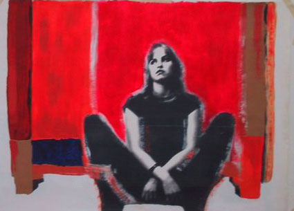 Its Too Late To Fall In Love With Sharon Tate II. Acrylic/Photo. 120x100 cm.