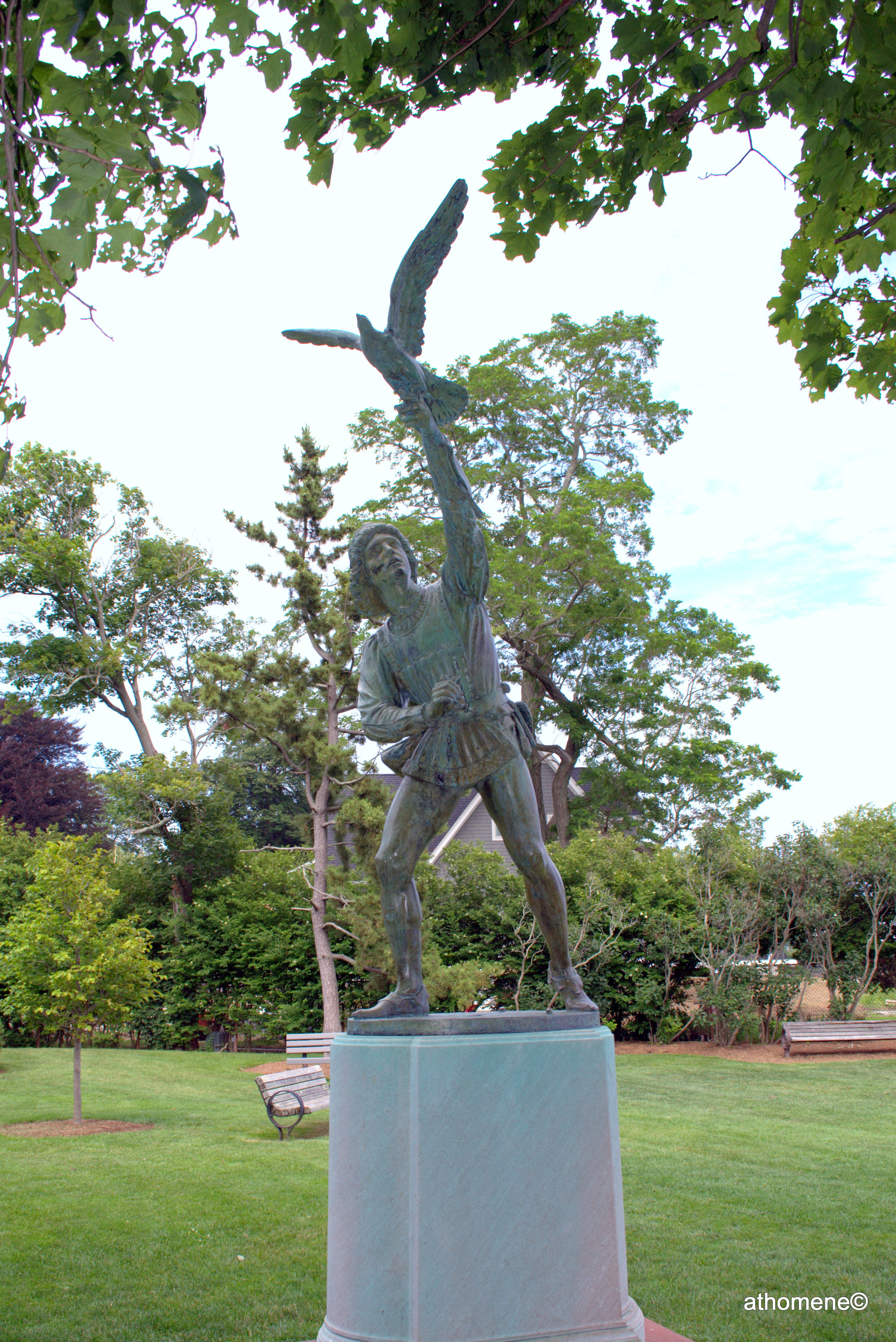 The Falconer, this statue was modeled after the original in Central Park in New York City.