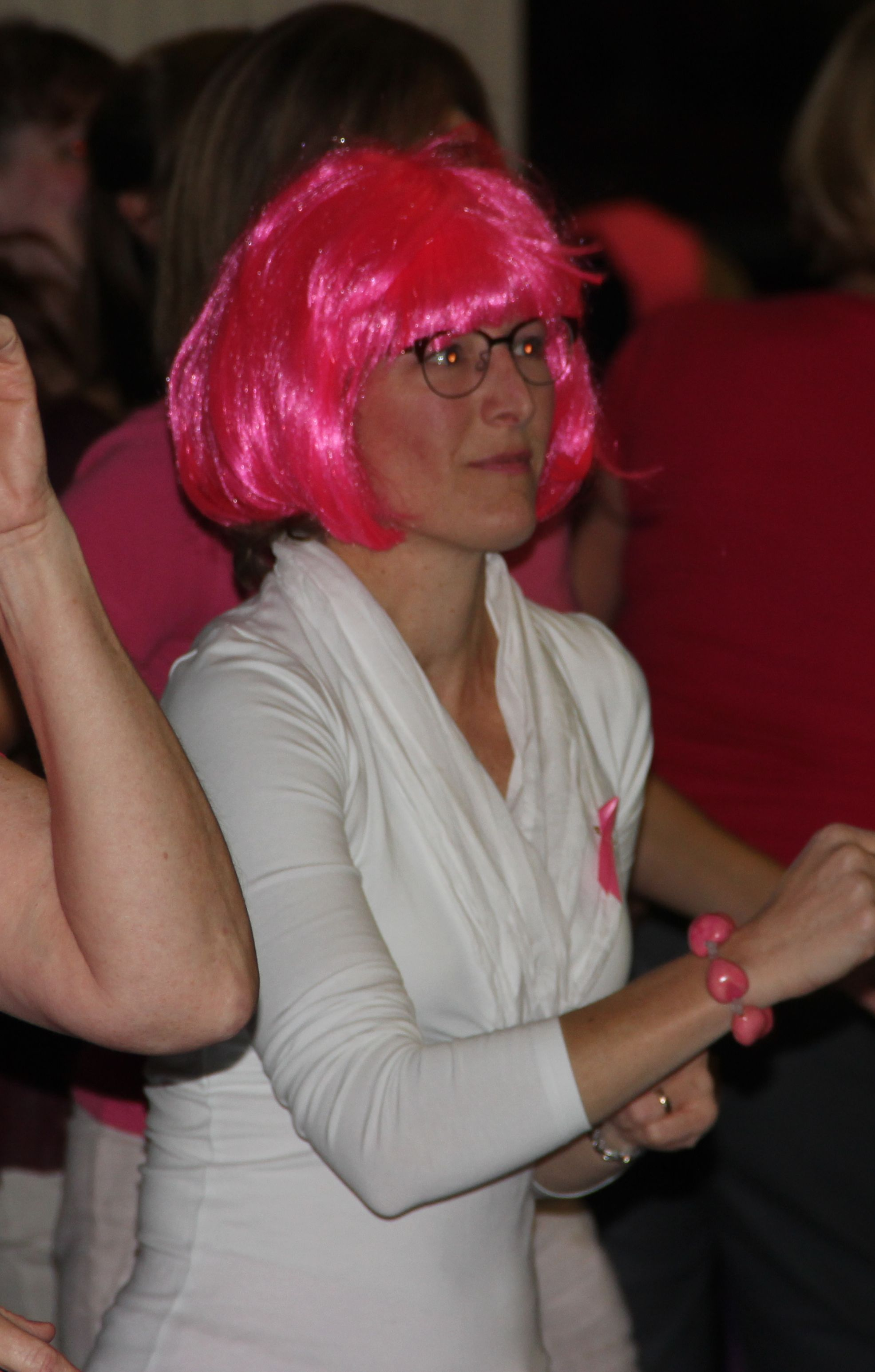 lady with pink wig
