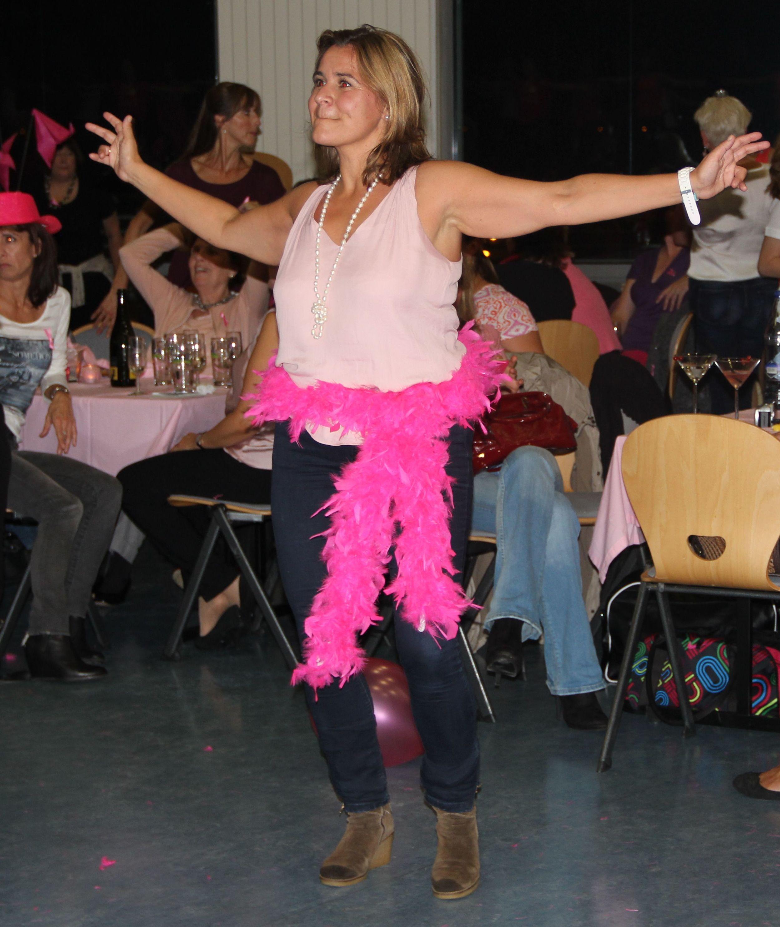 pink boa lady