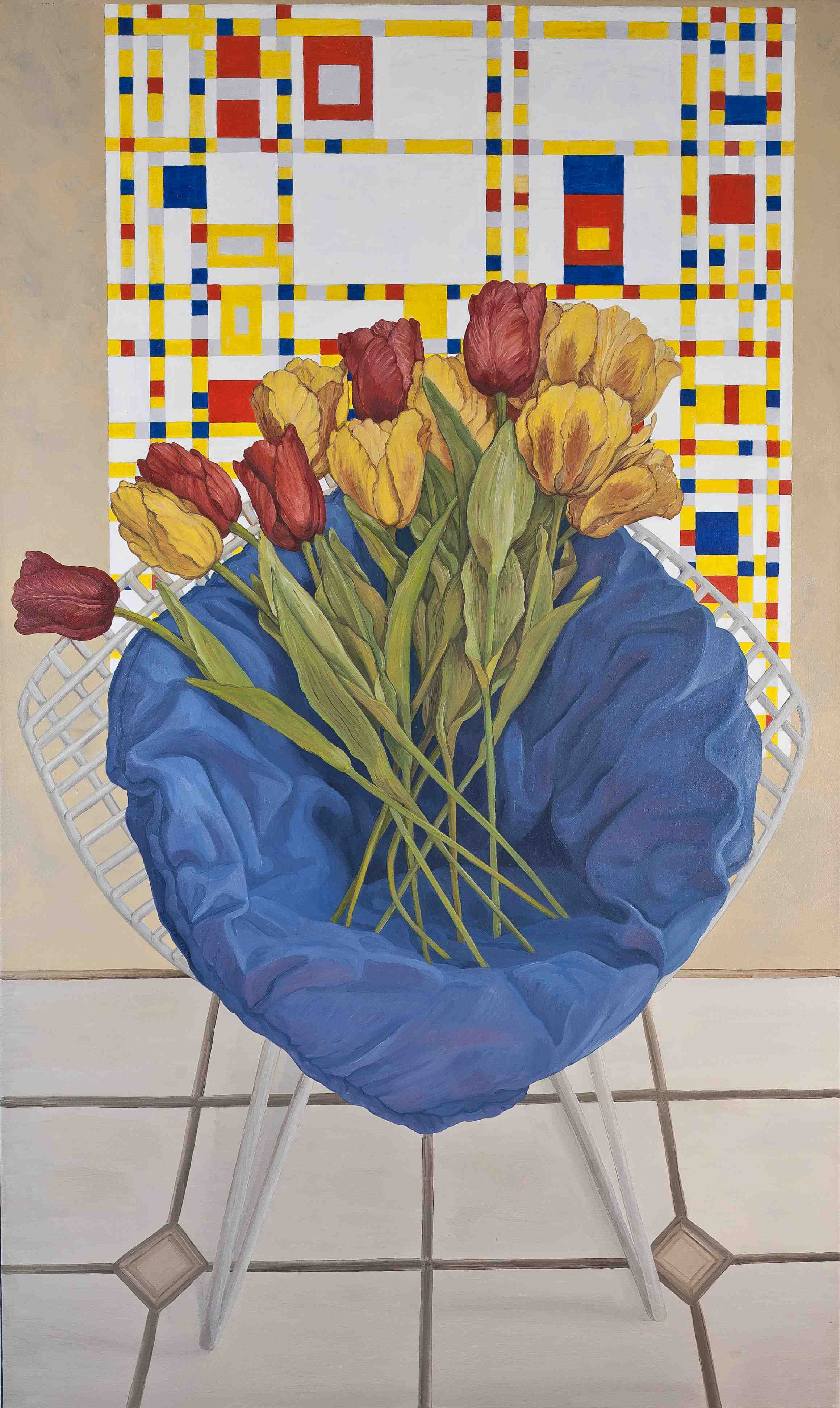 "Portrait of Chair with Tulips and Piet Mondrian's ""Boogie-Woogie Broadway (1962)"""