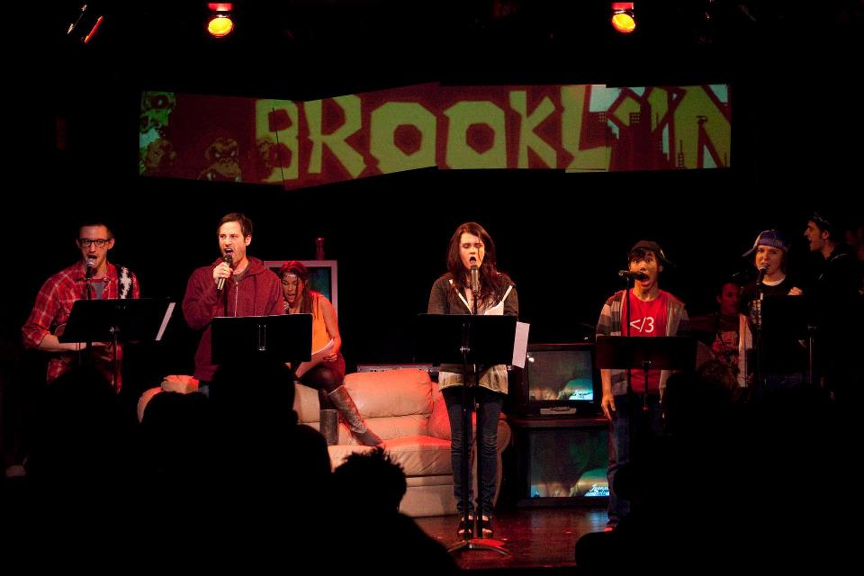 L to R: Teddy Yudain, Lance Rubin, Ana Noguera (seated), Gayle Rankin, Austin Auh, Kat Heverin. Photo courtesy Ars Nova.