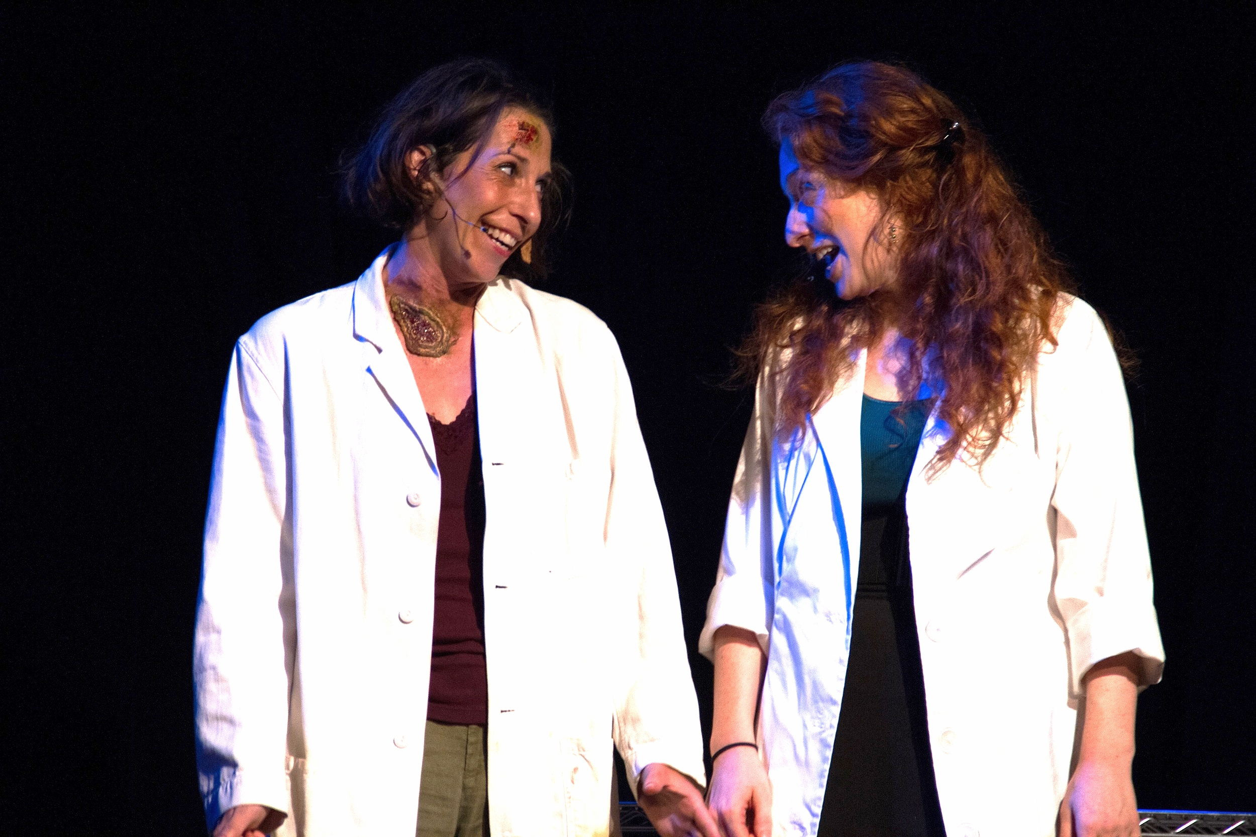 Piper Goodeve & Megan Sass in THE MAD SCIENTIST'S GUIDE TO ROMANCE, ROBOTS AND SOUL-CRUSHING LONELINESS (FringeNYC 2015). Photo courtesy Crystal Arnette.