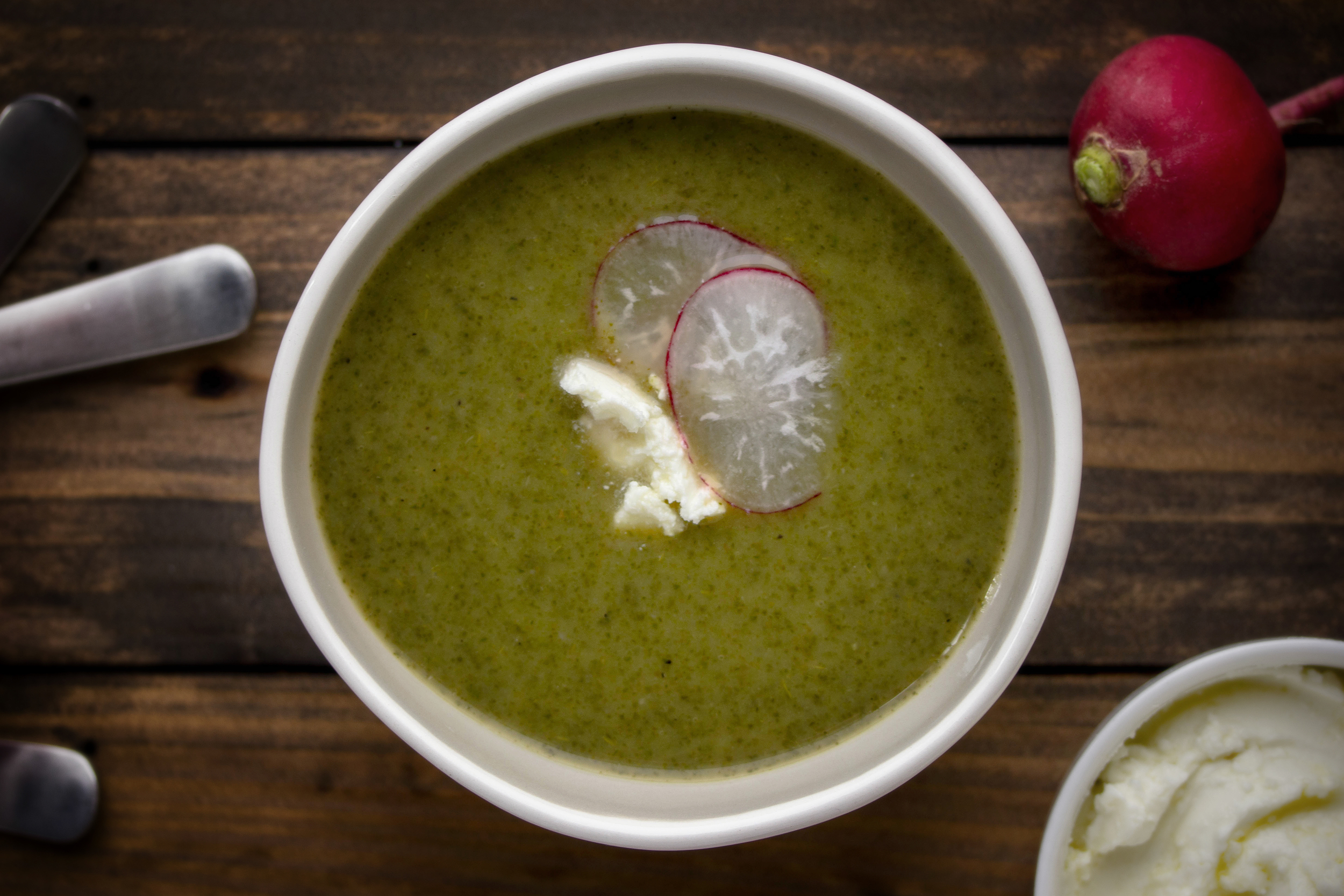 Simple Radish Leaf Soup With Whipped Feta