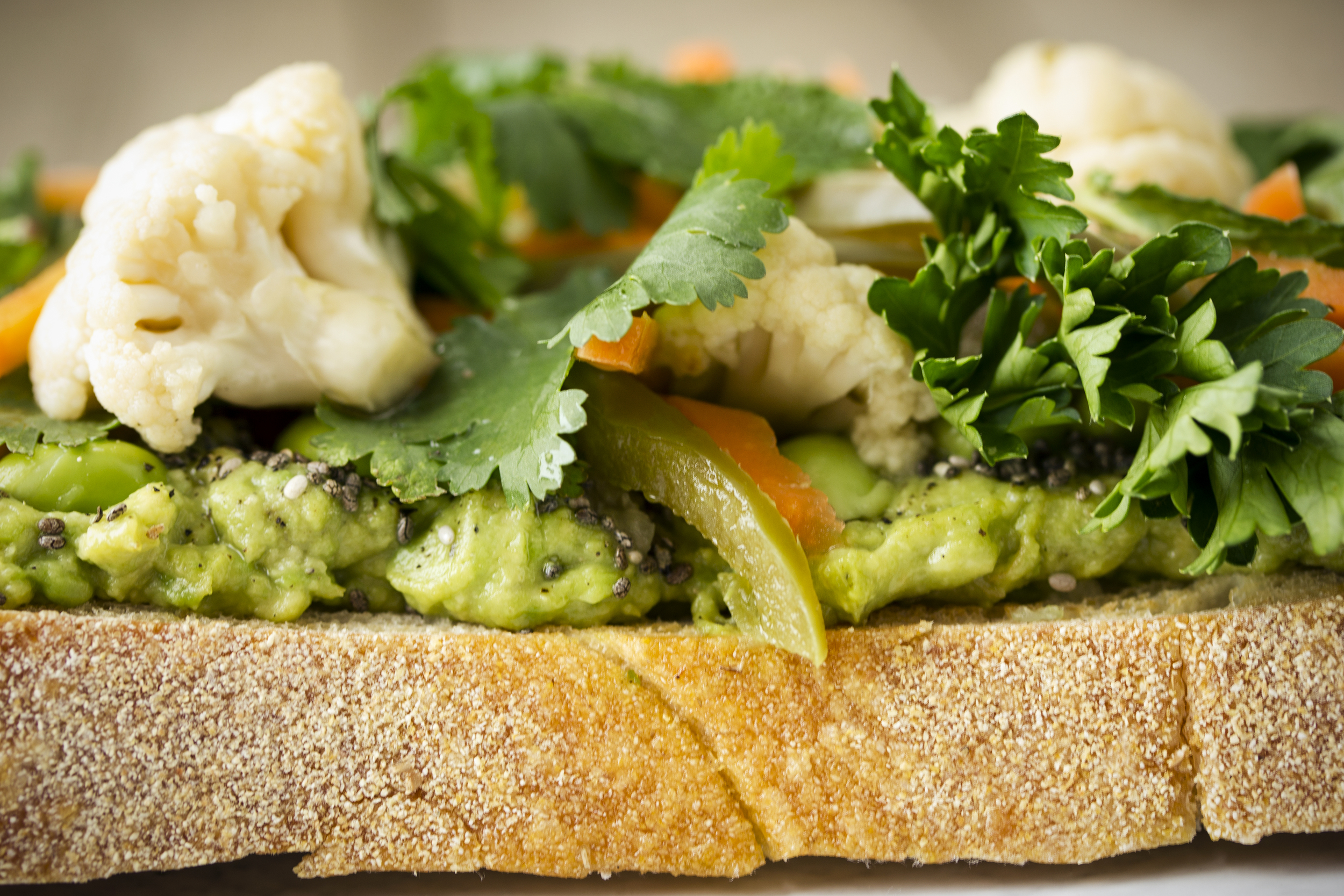 Kicked-up Avocado Toast with Spicy Pickled Veggies