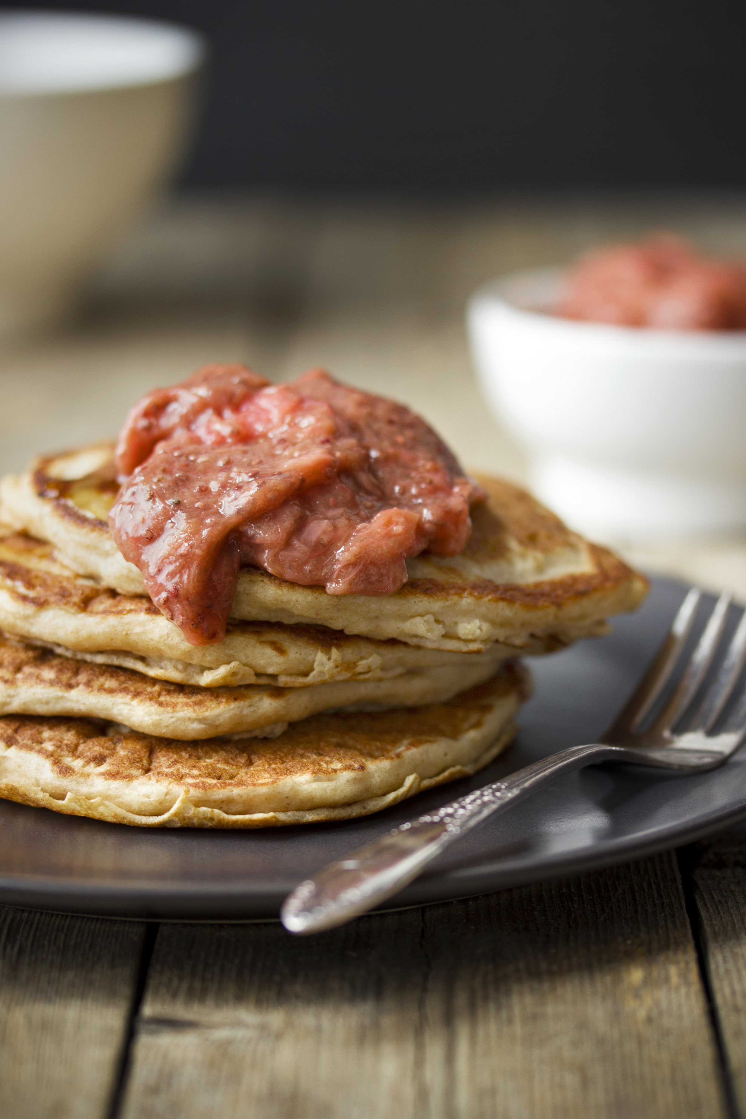 Protein-Packed Cottage Cheese Pancakes with Rhubarb Compote