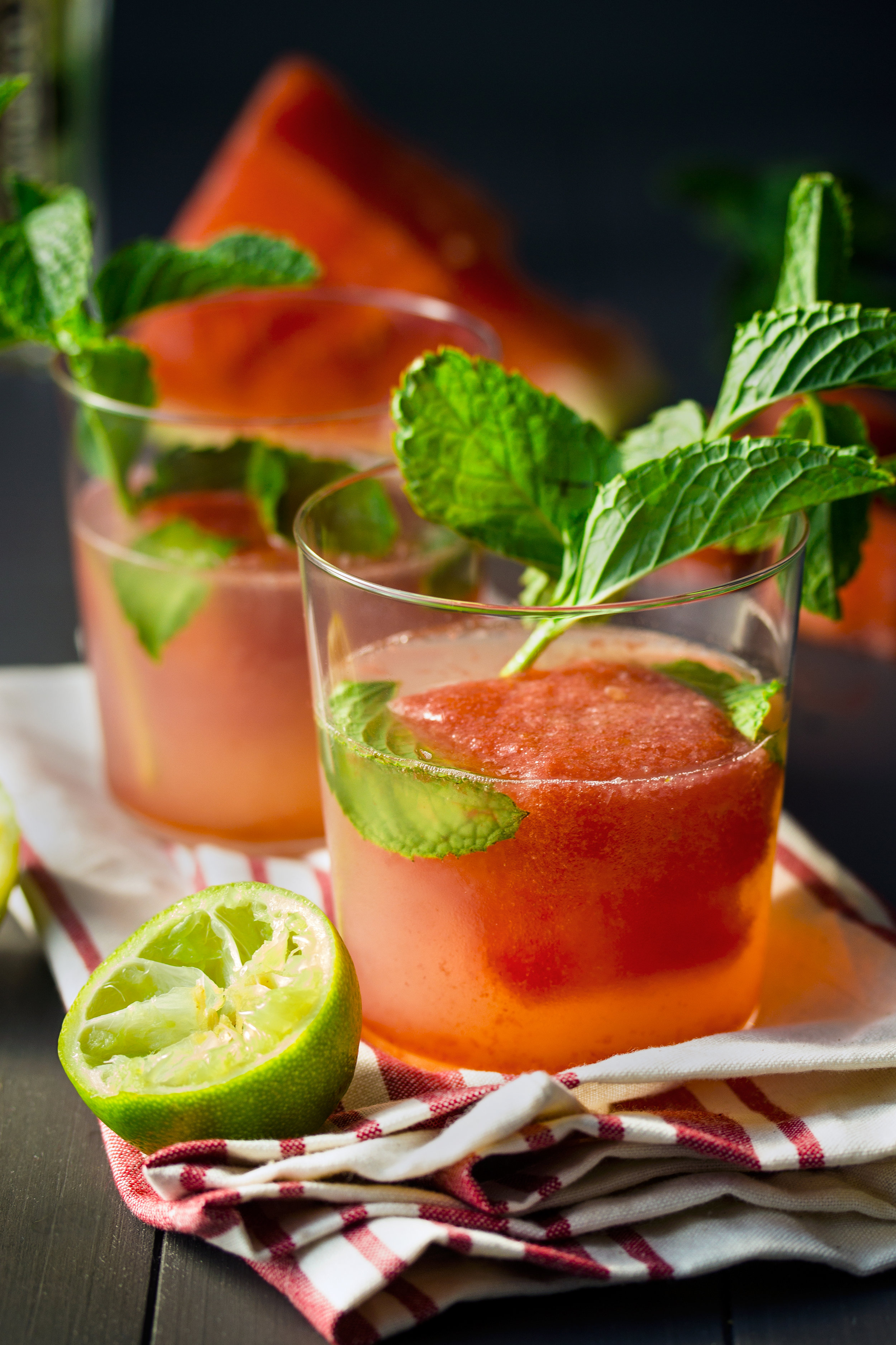 Gin Cocktail with Watermelon Ice Cubes