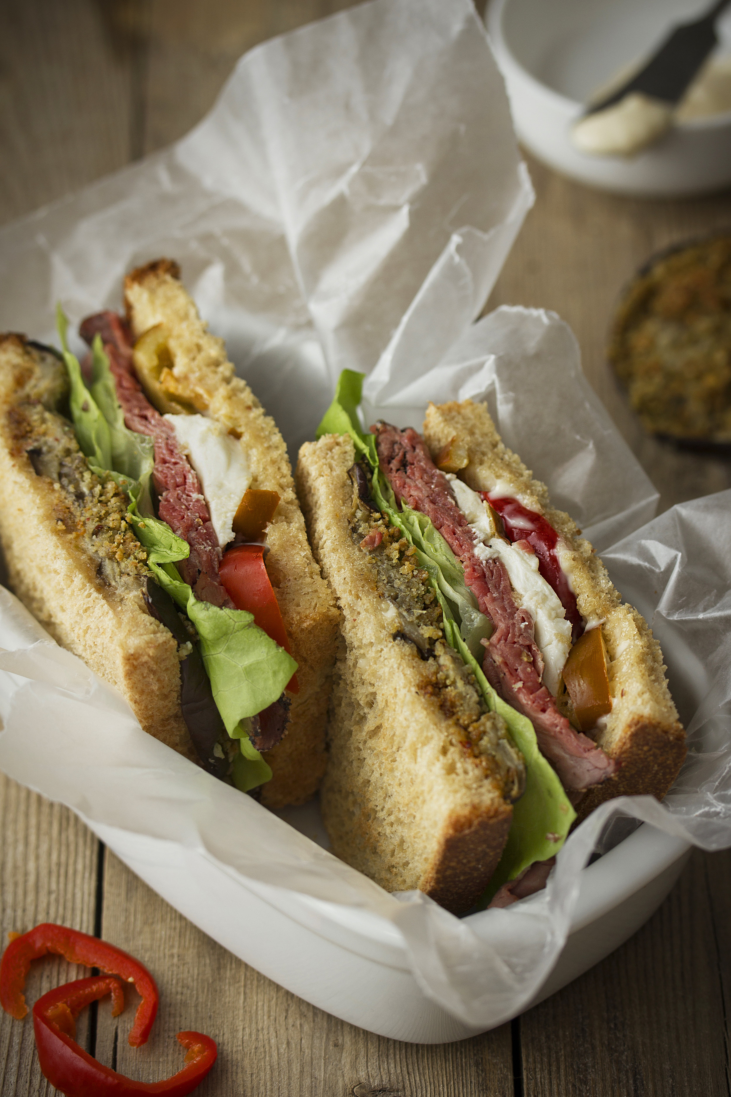 Spicy Roast Beef Sandwich with Breaded Eggplant, Mozzarella and Cherry Peppers