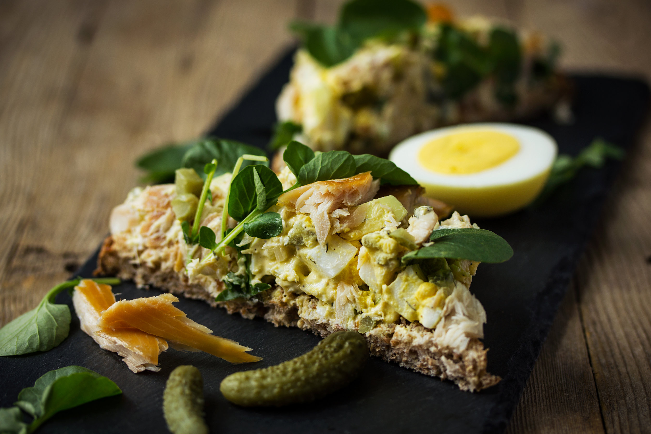Pickled Egg And Smoked Trout Toast