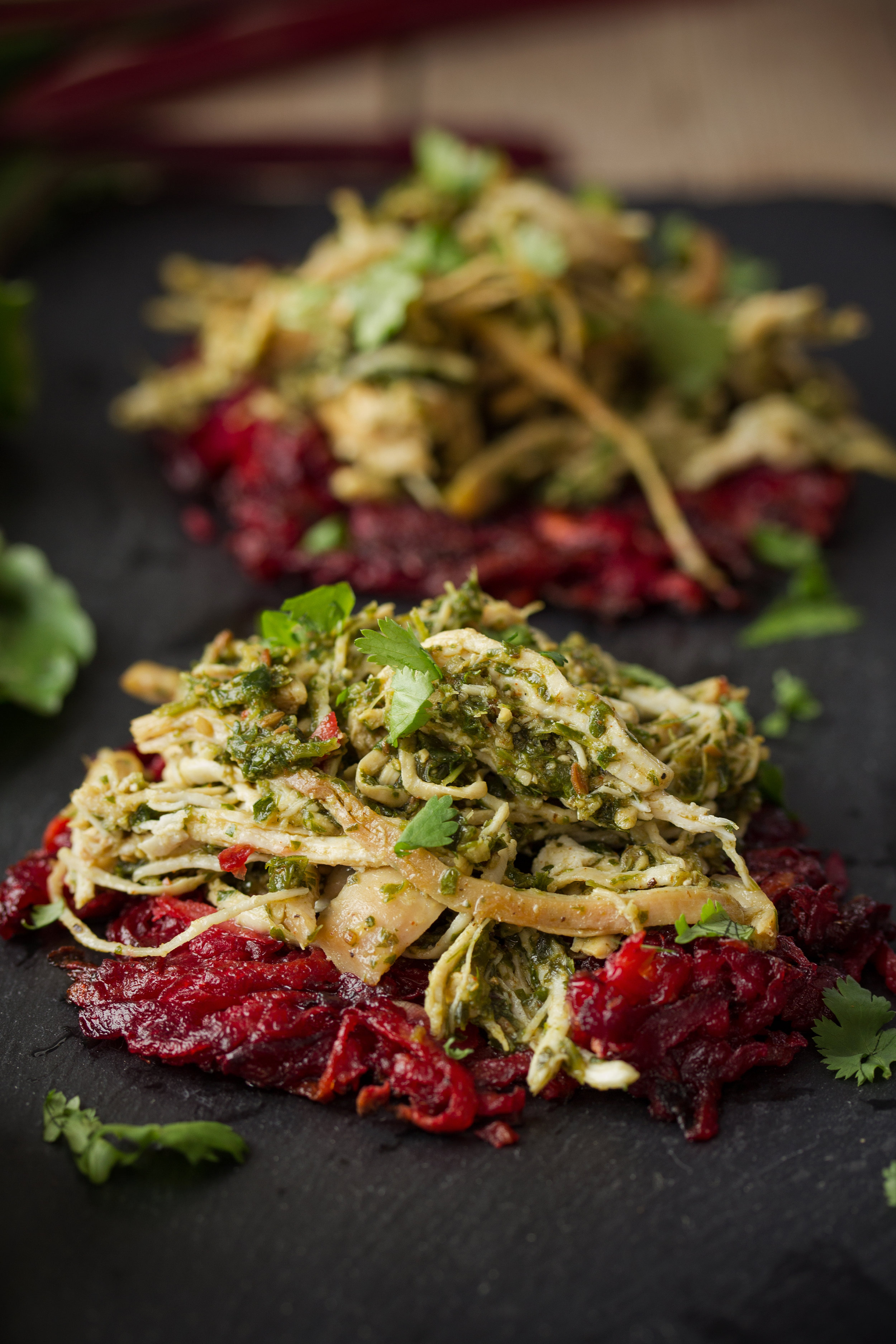 Chermoula Pulled Chicken on Sweet Potato and Beet Hash