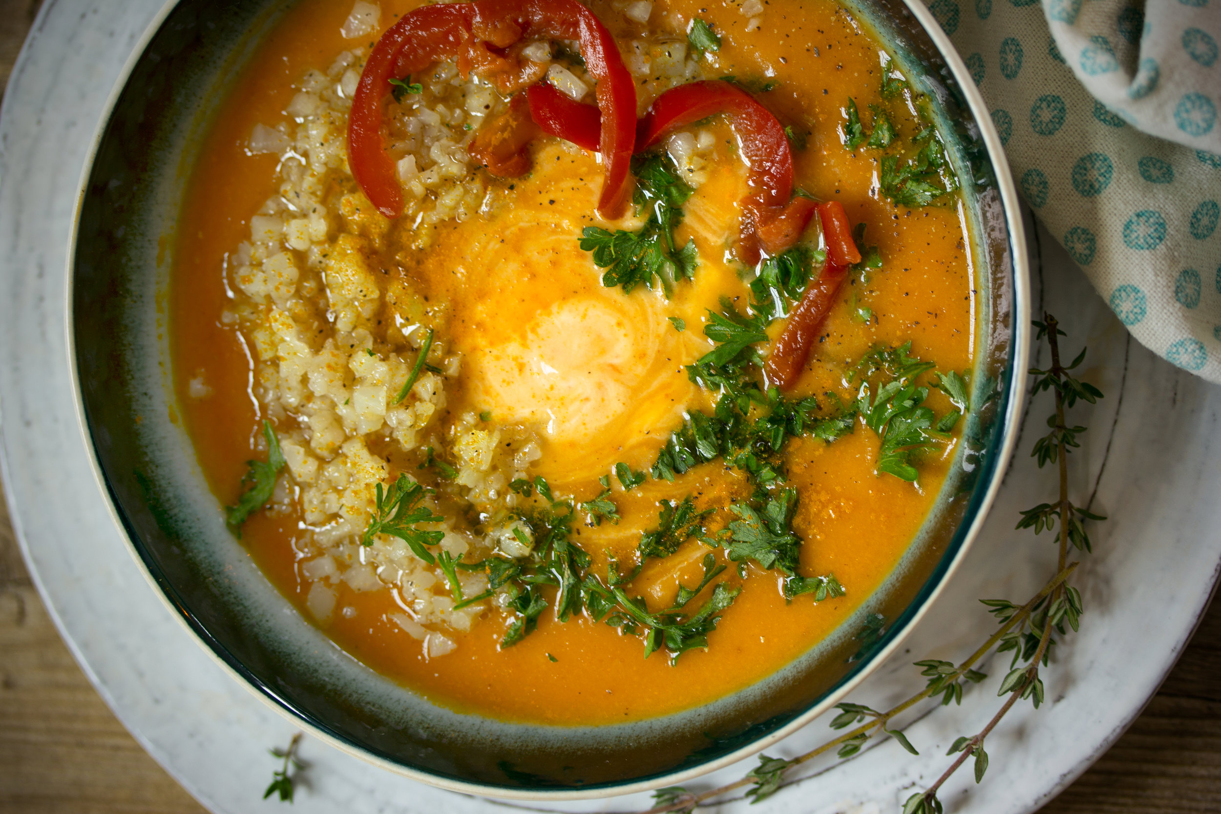 Roasted Red Pepper and Acorn Squash Soup with Riced Cauliflower