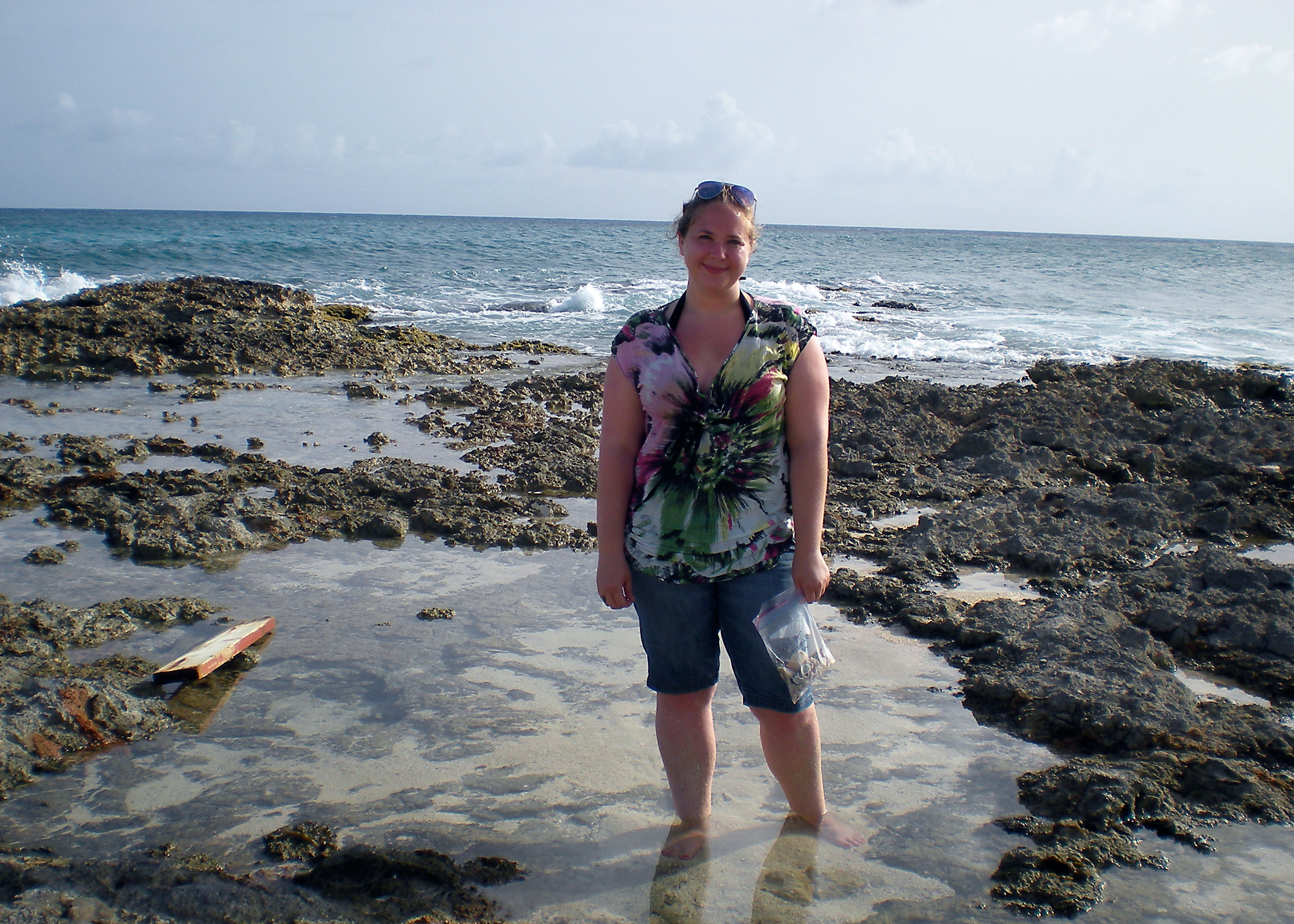 July 2014, in St. Martin - looking for inspiration shells in tide pools.