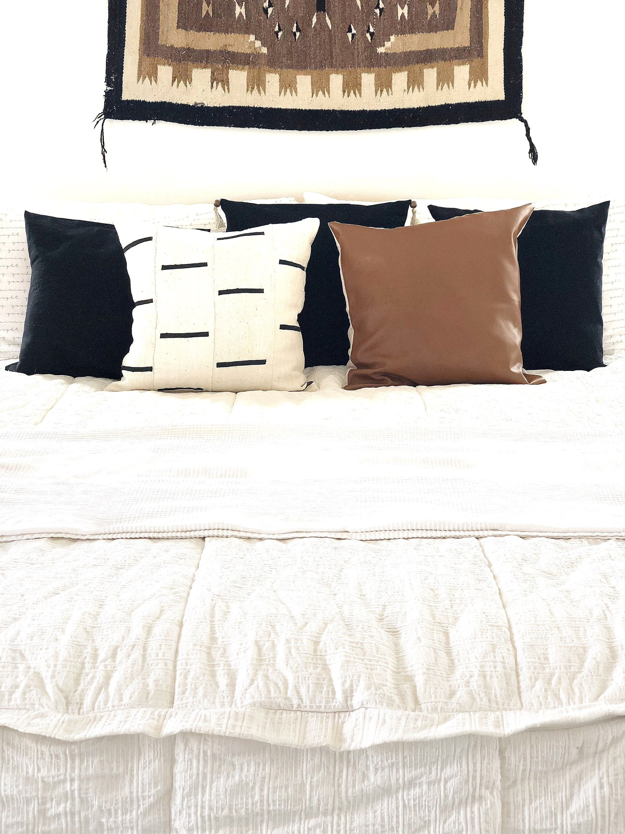 Pillows - Black- My diy pillow covers I made out of curtains.Mud cloth- Linen & Ivory/MaddexFaux leather- Linen & Ivory