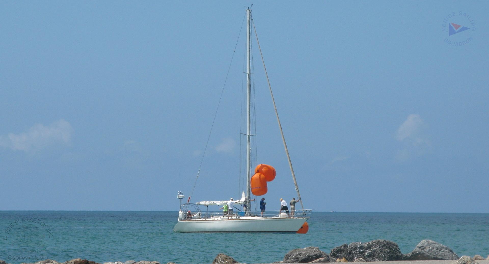 VSS RC Boat Fruition setting the start line just off the Venice Jetty.                 photo courtesy Osprey.Media