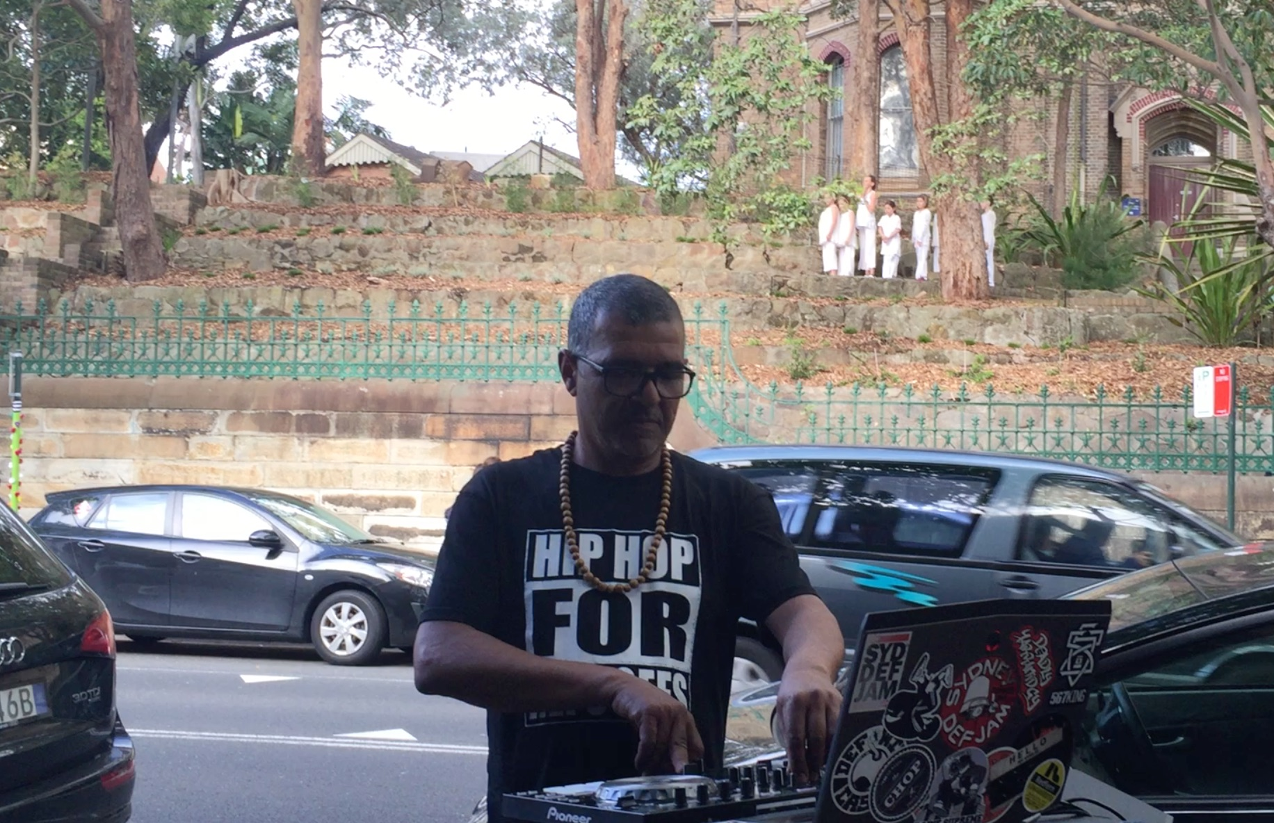 DJ Russell Cole from Sydney Def Jam with Seet Dance site-specific project for the Surry HIlls Festival