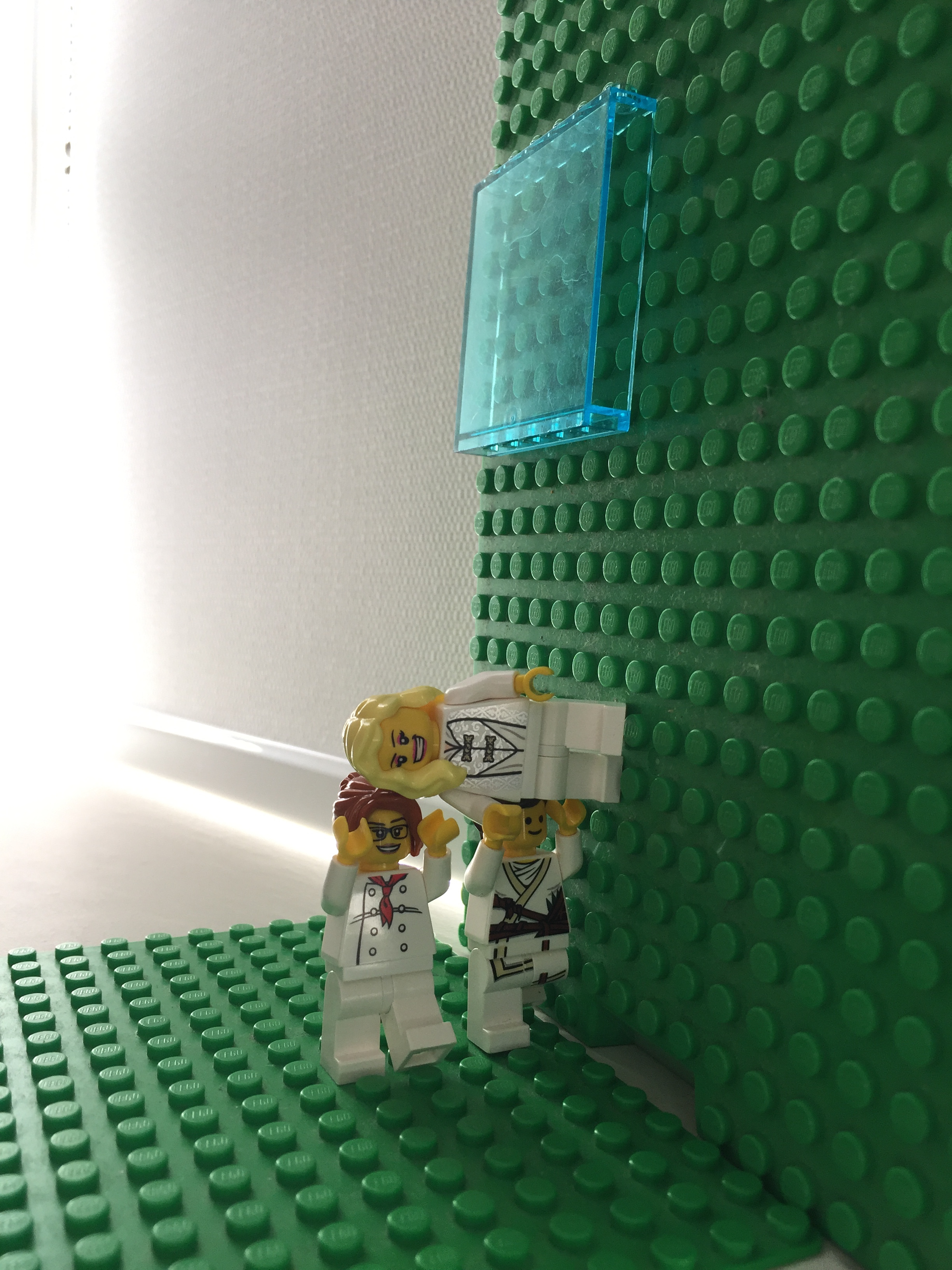 "Trisha Brown Dance Company has been presenting ""wall walk"" as part of their  Trisha Brown: In Plain Sight  site-specific performances. They are reconstructing work from 1979 to 2011. This is our Lego version.  Link to  Wall Walk   https://www.youtube.com/watch?v=fofHzDOSDbU"