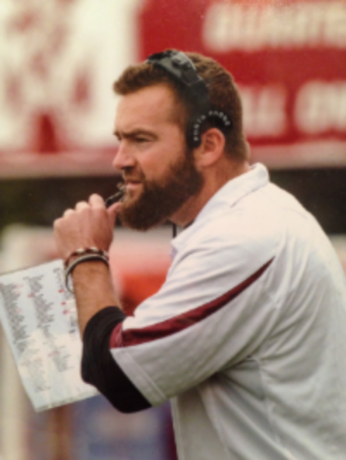 Coach Vanorksi crushing No-Shave-November on the Morristown Colonial sideline.