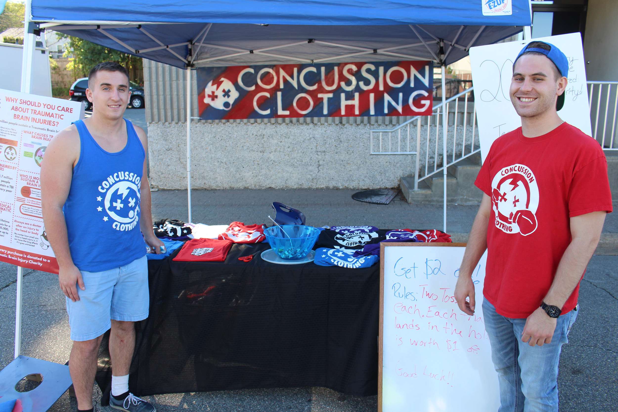 Kiernan (left) runs Concussion Clothing's business operations and Alex (right) is the mastermind behind the designs.