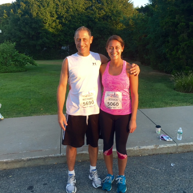 Pictured: Richard Dodakian and his daughter. Their family runs in the  Falmouth Road Race  every year and has become not only a family tradition, but also a motivator to stay in shape.
