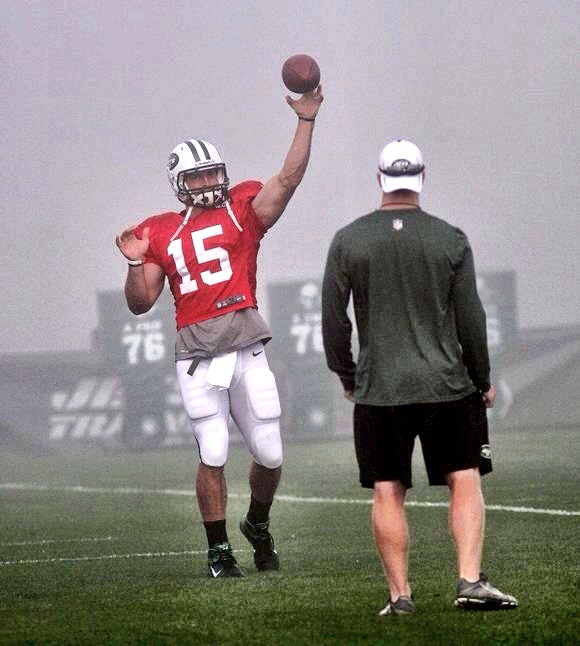 Playing catch with Tim during Jets training camp in 2012