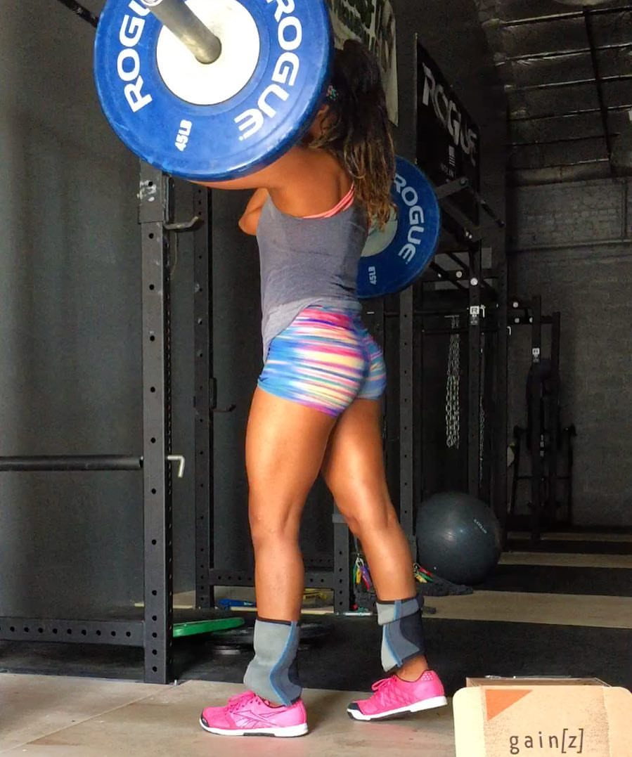 Natalie about to hit some front squats!